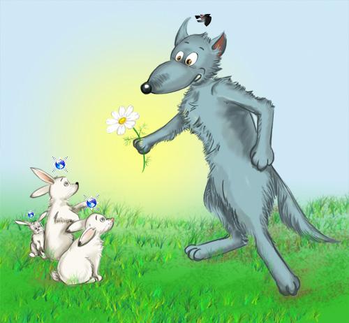 Волк и зайка картинки